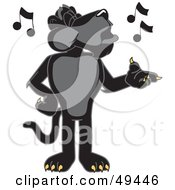 Royalty Free RF Clipart Illustration Of A Black Jaguar Mascot Character Singing by Toons4Biz