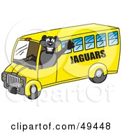 Royalty Free RF Clipart Illustration Of A Black Jaguar Mascot Character School Bus Driver