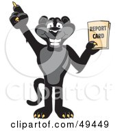 Royalty Free RF Clipart Illustration Of A Black Jaguar Mascot Character Holding A Report Card