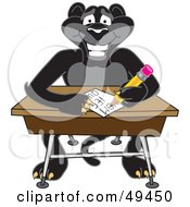 Royalty Free RF Clipart Illustration Of A Black Jaguar Mascot Character Taking A Quiz by Toons4Biz