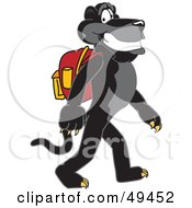 Black Jaguar Mascot Character Walking To School
