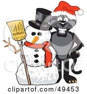 Royalty Free RF Clipart Illustration Of A Black Jaguar Mascot Character With A Snowman by Toons4Biz