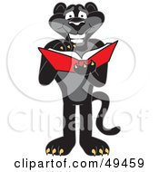Black Jaguar Mascot Character Reading