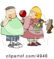 Girl Watching Nasty Boy Pick His Nose With His Pointer Finger Clipart