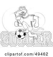 Royalty Free RF Clipart Illustration Of An Outline Of A Panther Character Mascot With Soccer Text