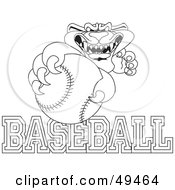 Royalty Free RF Clipart Illustration Of An Outline Of A Panther Character Mascot With Baseball Text