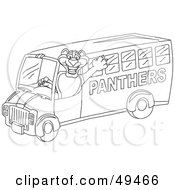Royalty Free RF Clipart Illustration Of An Outline Of A Panther Character Mascot School Bus Driver