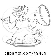 Royalty Free RF Clipart Illustration Of An Outline Of A Panther Character Mascot Serving A Turkey
