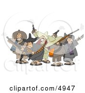 Group Of Crazy Mexican Bandits Shooting Guns Clipart