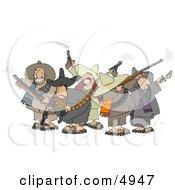 Group Of Crazy Mexican Bandits Shooting Guns