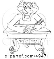 Royalty Free RF Clipart Illustration Of An Outline Of A Panther Character Mascot Taking A Quiz