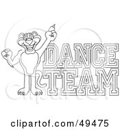 Royalty Free RF Clipart Illustration Of An Outline Of A Panther Character Mascot With Dance Team Text