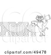 Royalty Free RF Clipart Illustration Of An Outline Of A Panther Character Mascot With Prom Text