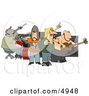 Rock Band Playing Music Clipart by djart
