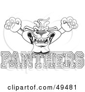 Outline Of A Panther Character Mascot With Panthers Text