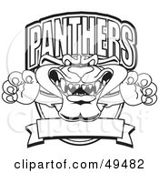 Royalty Free RF Clipart Illustration Of An Outline Of A Panther Character Mascot Logo
