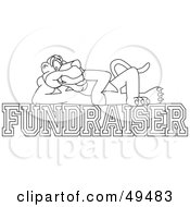 Royalty Free RF Clipart Illustration Of An Outline Of A Panther Character Mascot Reclined On Fundraiser Text