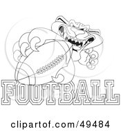 Royalty Free RF Clipart Illustration Of An Outline Of A Panther Character Mascot With Football Text