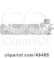 Royalty Free RF Clipart Illustration Of An Outline Of A Panther Character Mascot With Carnival Text