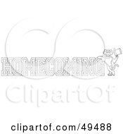 Royalty Free RF Clipart Illustration Of An Outline Of A Panther Character Mascot With Homecoming Text by Toons4Biz
