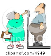 Nurse Weighing Overweight Man On A Scale Clipart by djart