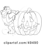 Outline Of A Panther Character Mascot With A Pumpkin