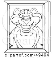 Royalty Free RF Clipart Illustration Of An Outline Of A Panther Character Mascot Portrait