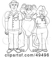 Royalty Free RF Clipart Illustration Of An Outline Of A Panther Character Mascot With Adults