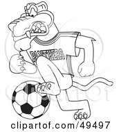 Royalty Free RF Clipart Illustration Of An Outline Of A Panther Character Mascot Playing Soccer