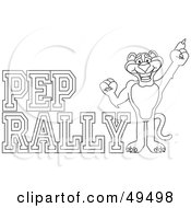 Royalty Free RF Clipart Illustration Of An Outline Of A Panther Character Mascot With Pep Rally Text