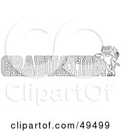 Royalty Free RF Clipart Illustration Of An Outline Of A Panther Character Mascot With Graduation Text