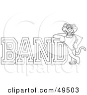 Royalty Free RF Clipart Illustration Of An Outline Of A Panther Character Mascot With Band Text by Toons4Biz