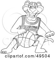 Outline Of A Panther Character Mascot Dribbling A Basketball