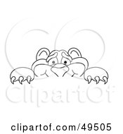 Royalty Free RF Clipart Illustration Of An Outline Of A Panther Character Mascot Looking Over A Surface by Toons4Biz