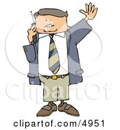 Business Man Talking On A Cellphone And Waving At Someone Clipart