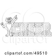 Royalty Free RF Clipart Illustration Of An Outline Of A Panther Character Mascot With Cheer Text by Toons4Biz