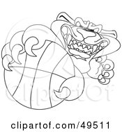 Royalty Free RF Clipart Illustration Of An Outline Of A Panther Character Mascot Grabbing A Basketball by Toons4Biz