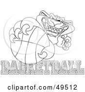 Royalty Free RF Clipart Illustration Of An Outline Of A Panther Character Mascot With Basketball Text by Toons4Biz