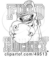 Royalty Free RF Clipart Illustration Of An Outline Of A Panther Character Mascot With Field Hockey Text by Toons4Biz