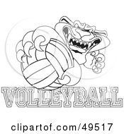 Royalty Free RF Clipart Illustration Of An Outline Of A Panther Character Mascot With Volleyball Text by Toons4Biz