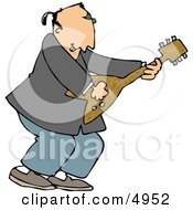 Old Rocker Playing A Guitar Clipart