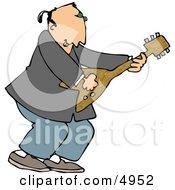 Old Rocker Playing A Guitar Clipart by djart