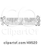 Royalty Free RF Clipart Illustration Of An Outline Of A Panther Character Mascot With Field Day Text by Toons4Biz