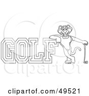 Royalty Free RF Clipart Illustration Of An Outline Of A Panther Character Mascot With Golf Text by Toons4Biz