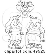 Royalty Free RF Clipart Illustration Of An Outline Of A Panther Character Mascot With Children by Toons4Biz