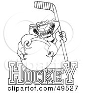 Royalty Free RF Clipart Illustration Of An Outline Of A Panther Character Mascot With Hockey Text by Toons4Biz
