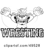 Royalty Free RF Clipart Illustration Of An Outline Of A Panther Character Mascot With Wrestling Text by Toons4Biz