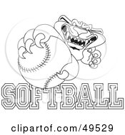 Royalty Free RF Clipart Illustration Of An Outline Of A Panther Character Mascot With Softball Text by Toons4Biz