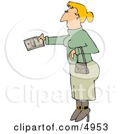 Woman Paying With Cash Clipart