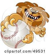 Lion Character Mascot Grabbing A Baseball